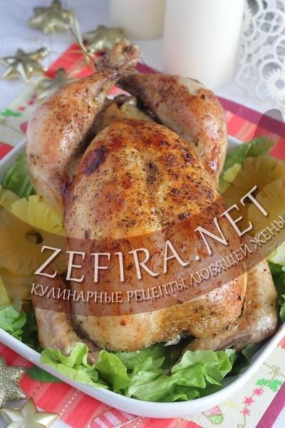 Рецепт для духовки - курица фаршированная рисом с ананасами