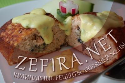 Зразы из горбуши - рецепт с начинкой из грибов