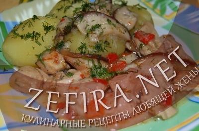 Гуляш из свинины с подливкой - рецепт с грибами
