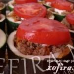 Горшочки из кабачков, фаршированные свининой с овощами