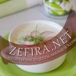 Холодный суп на кефире с редиской