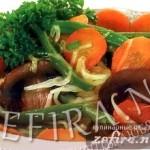Рецепт овощного гарнира — жаренные овощи с грибами