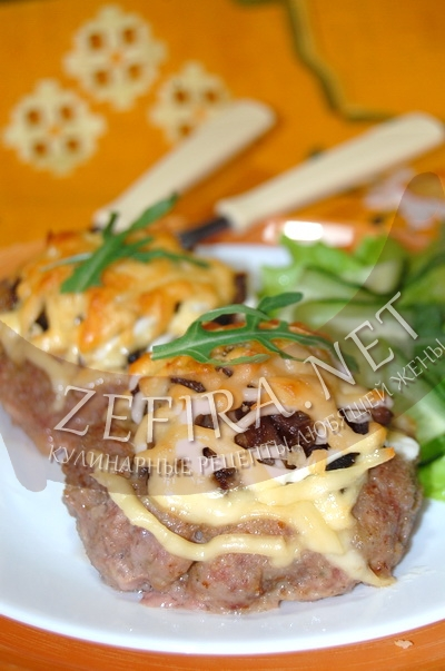 Гнезда с фаршем в духовке - рецепт с грибами и сыром