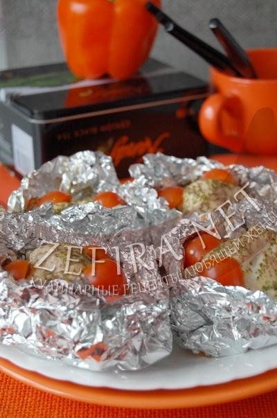 Куриные мешочки с шампиньонами и сыром