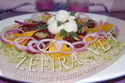Салат из запеченой тыквы и свеклы