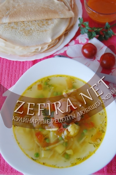 Суп с белокачанной и цветной капустой