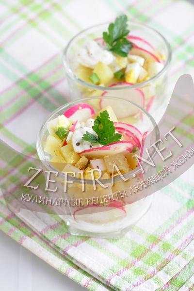 Салат с редиской — рецепт c яйцами и картофелем