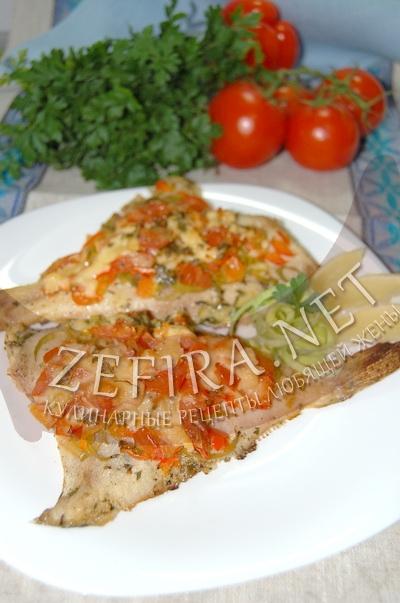 Камбала запеченная в духовке с овощами - рецепт и фото