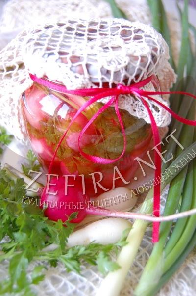 Консервированная редиска с зеленым луком - рецепт на зиму
