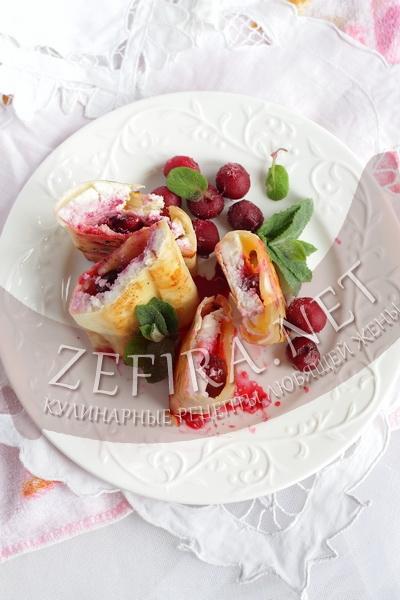 Рулетики из лаваша с начинкой из сыра и вишни - рецепт и фото