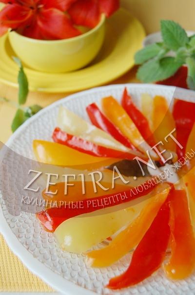 Маринованный болгарский перец дольками - рецепт и фото