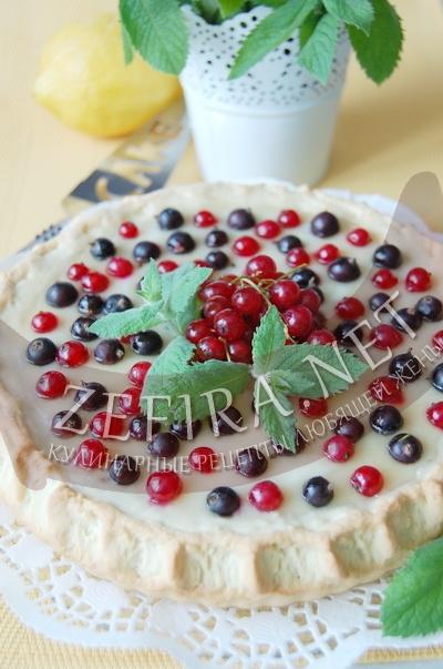 Песочный пирог с заварным кремом и смородиной - рецепт и фото