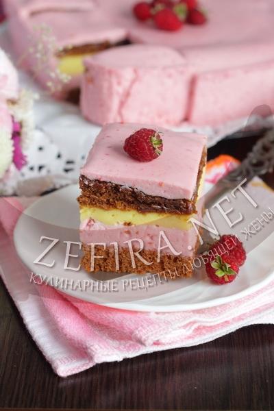 Торт с малиной - рецепт и фото