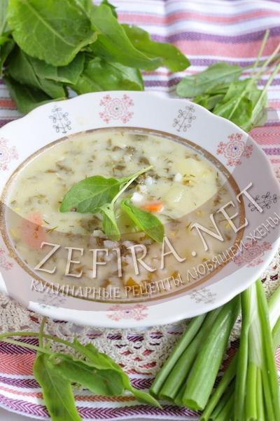 Зеленый борщ со щавелем и говядиной - рецепт и фото