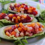 Огуречные лодочки фаршированные овощами