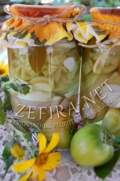 Маринованные зеленые помидоры на зиму - рецепт и фото