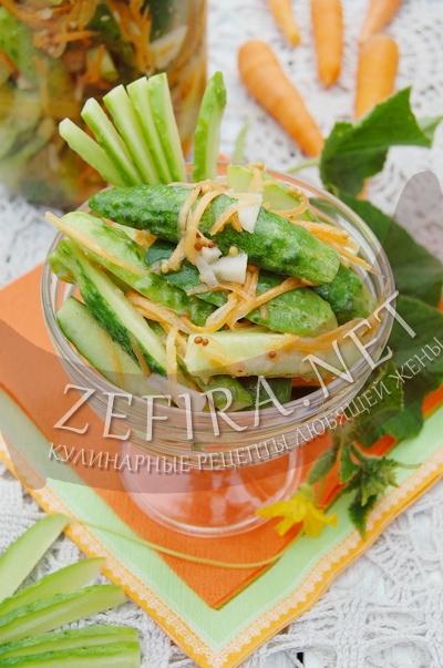 Салат из огурцов и моркови с чесноком - рецепт и фото