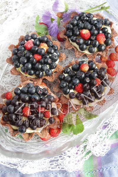 Шоколадные корзиночки с ягодами - рецепт и фото