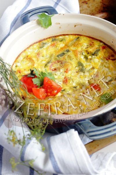 Омлет в духовке с помидорами, фасолью и кабачками - рецепт и фото