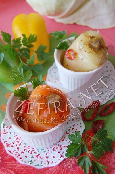 Сладкий перец, фаршированный капустой – рецепт и фото