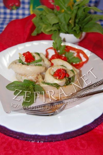 Рулетики из рыбы с начинкой из шпината - рецепт и фото