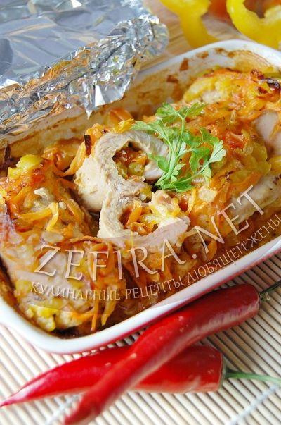 Рулетики из свинина с овощами, запеченные в духовке - рецепт и фото