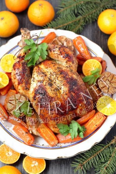 Новогодняя курица – рецепт с мандаринами и сладкой морковью (рецепт и фото)