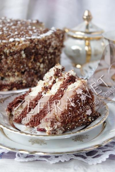 Торт шоколадно-ванильный с клюквой - рецепт и фото