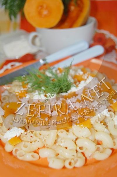 Макароны с тыквой и творогом - рецепт и фото