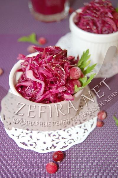 Рецепт салата из красной капусты с клюквой (фото)