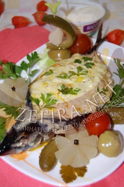 Скумбрия запеченная с овощами и рикоттой