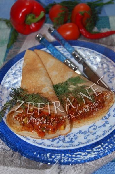 Блины кулечки с овощами - рецепт и фото