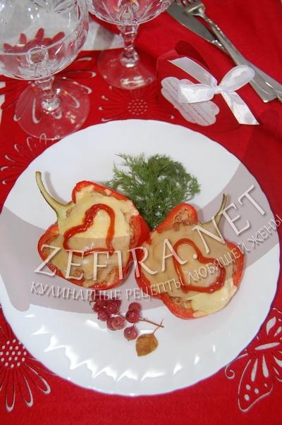 Половинки перца фаршированные – ужин «Для двоих» на 14 февраля - рецепт и фото