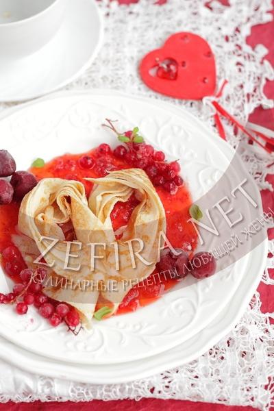 Сердечки из блинов - рецепт и фото
