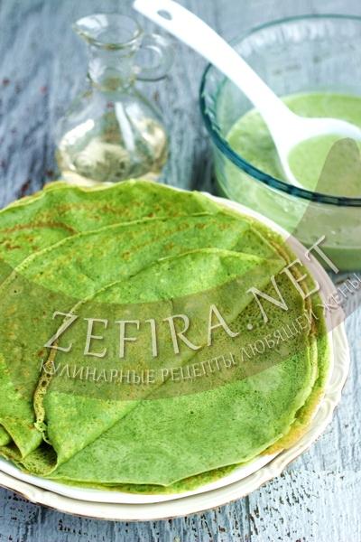 Зеленые блины со шпинатом - рецепт и пошаговые фото