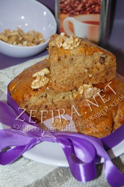 Постный кофейный пирог с грецкими орехами - рецепт и фото