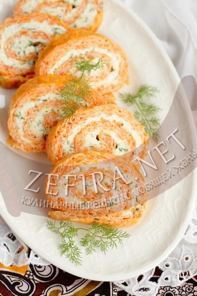 Рулет из моркови с сыром - рецепт и фото