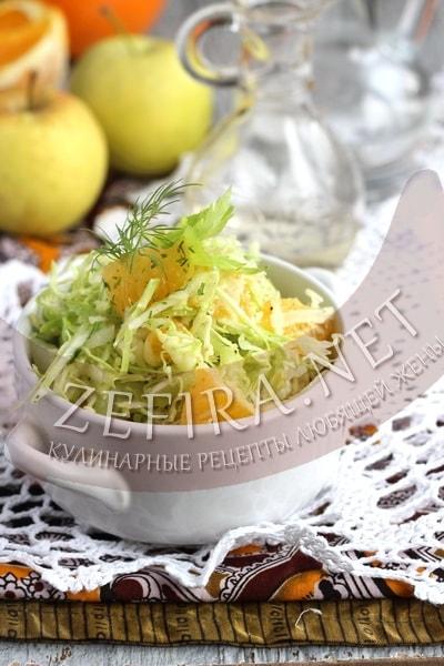 Салат с капустой и апельсинами - рецепт и фото