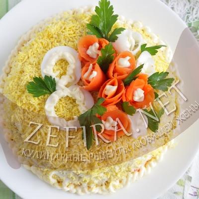 Салат мартовский с кальмарами рецепт
