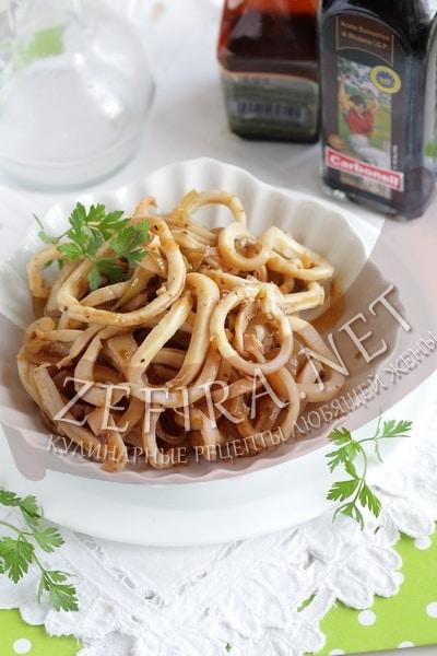Закуска из кальмаров - кольца кальмаров маринованные - рецепт и фото