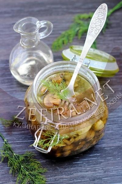 Маринованные шампиньоны с чесноком и зеленью - рецепт и фото