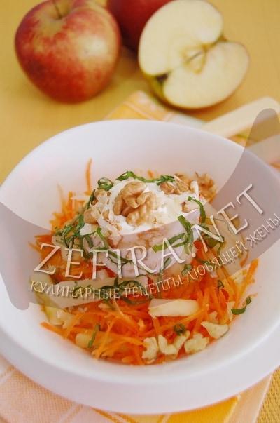 Салат из моркови и яблок с грецкими орехами - рецепт и фото