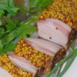 Свиная грудинка в горчице,  запеченная в духовке