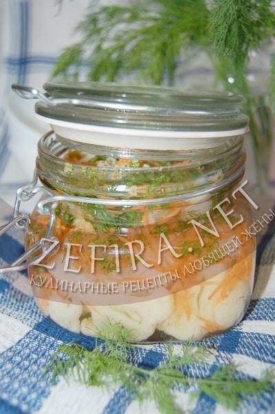 Цветная капуста, маринованная с морковью - рецепт и фото