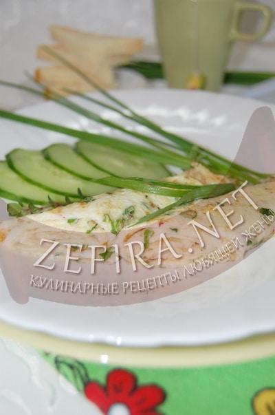 Омлетные блины с зеленым луком - рецепт и фото
