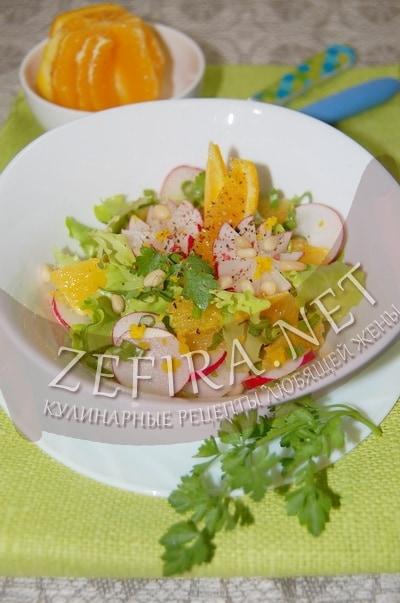 Салат из редиса с апельсином и орехами - рецепт и фото