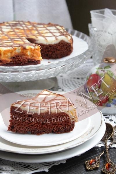 Шоколадный пирог с кабачками и творогом - рецепт и фото