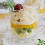 Слоеный салат с абрикосами и сыром