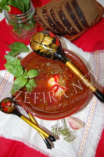 Красный борщ со щавелем - рецепт и фото