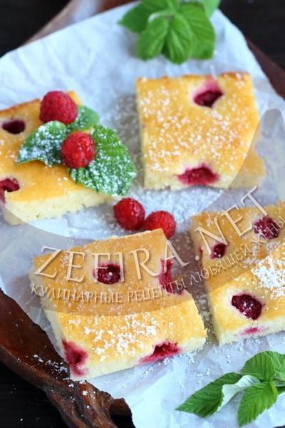 Сметанный пирог с малиной - рецепт и фото